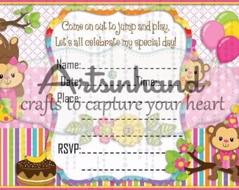 Monkey Girl Birthday Invitation
