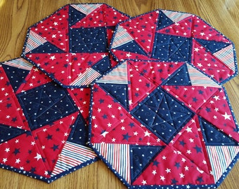 Stars and Stripes QUILTED AMERICANA PLACEMATS Four in set, Octagon shaped, 4th of July, Memorial Day, table topper or wall hanging  shaped