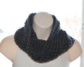 gunmetal gray crochet infinity scarf