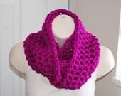 the chunky fuchsia crochet infinity scarf
