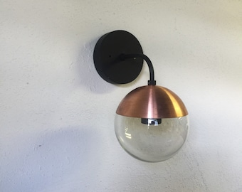 Modern Brass Light vintage style wall sconce with glass globe - cooper and black-