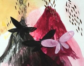 Volcano painting, fantasy, moths, mixed media art on paper