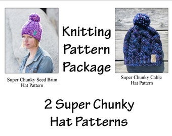 Sale//Knitting Pattern Package- 2 Super Chunky Hat Patterns