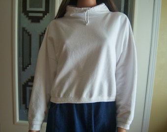 "Vintage Ladies Crop Sweat Shirt, ""Best"" American Clothing Co., One Size Fits All, Made in USA, 100% Cotton, 1980's Sweat Shirt"