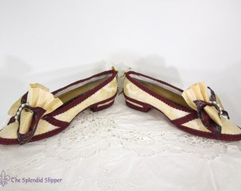 Embellished Shoes | Rococo Flats | Cream Damask + Burgundy
