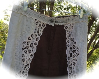 Rustic Romantic Appaloosa Rodeo  Skirt Lace Applique Chaps Unique OOAK Maxi Gypsy Cowgirl