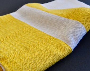 Turkish Towel Bamboo Peshtemal Towel Pure Soft Yellow and Ivory
