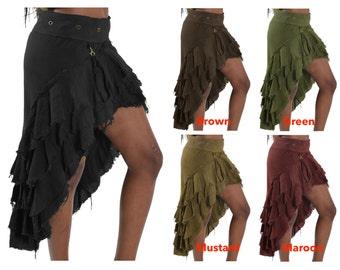STEAMPUNK SKIRT, Burlesque skirt, rouch skirt, flamenco skirt, midi skirt, trail skirt, Juskwy