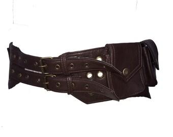 VEGAN LEATHER UTILITY belt, pocket belt, fanny pack, bumbag, STEAMPUNk belt, festival belt, VLBEMs2