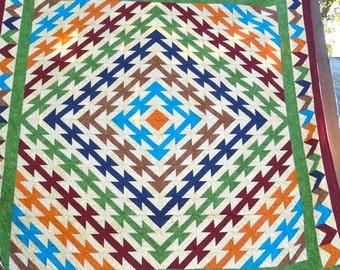 94 x 92 Queen Size Southwestern Chevron Design Hand Made Quilt