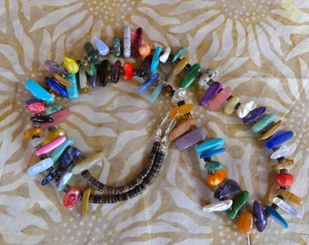 28 Inch Southwestern Multi-Colored Gemstone Stick Bead Necklace with Earrings