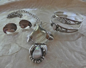 Vintage Sterling Silver Matching Navajo Necklace, Earrings and Two Bracelets