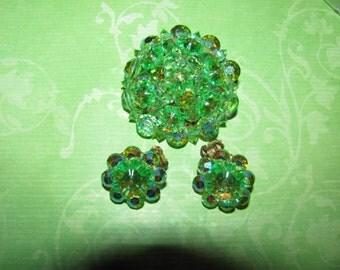 Vintage Aurora Borealis Rivoli Green Crystal Beaded Brooch Pin Earring Set