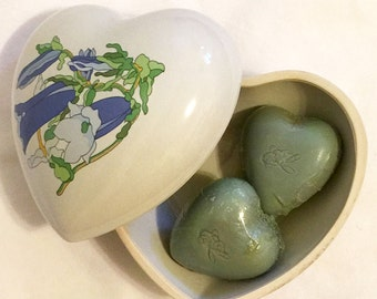 Vintage 1980s Estee Lauder Heart Shaped Ceramic Box with Youth Dew Guest Soaps
