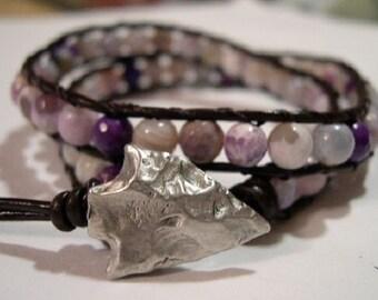Beaded wrap bracelet, Wrap bracelet, Beaded LeatherWrap, Boho bracelet, Beaded wrap - 843