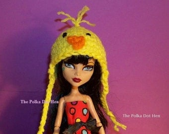 Monster High Doll Clothes Easter Chick Hat Beanie Yellow, Pink or Blue