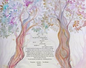 Trees of life ketubah- digital print on paper - custom- express mail