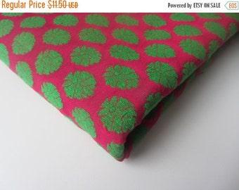 ON SALE SALE Fuchsia green velvet neon India silk brocade fabric nr 362 fat quarter
