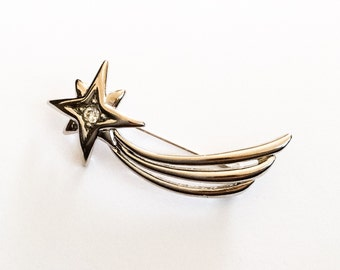 Trifari Brooch, Shooting Star Pin, Retro, 1960s Vintage Jewelry, SUMMER SALE