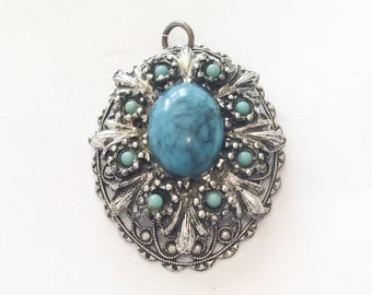 Turquoise Pendant, Southwestern Style, 1940s Vintage Jewelry, SUMMER SALE