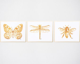 Watercolor Golden Wings Print Trio, Gold Bug Illustration - Fashion Wall Art Watercolor Painting, Butterfly, Dragonfly, Bee