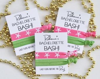 Bachelorette BASH! Elastic Hair Ties / Last Fling before the Ring! / Beach Bachelorette / Bachelorette Party Favor / Personalize Your Own
