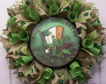 Saint Patrick's Day Wreath,Happy ST. Patrick's Day Wreath,Totally Burlap St. Patrick's Day Wreath,Shamrock Wreath