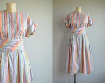 Vintage 1980s Dress / 80s Mini Rainbow Stripe Cotton Midi Dress with Pleated Skirt / 80s Does 50s