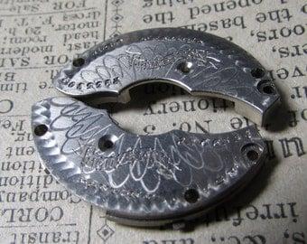 FREE SHIPPING - Steampunk Jewelry Supplies, Pocket Watch Damaskeen Nickel Plates,   Repurpose