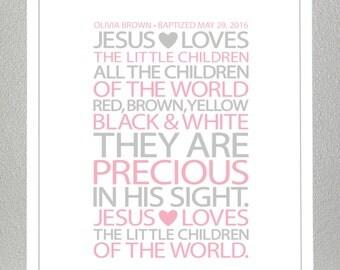 baby dedication gift - Jesus loves the children  - Print