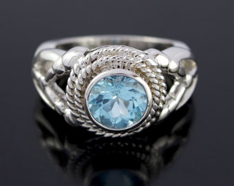 Blue Topaz Silver Rope Ring. Mens' Twisted Rope Ring With Blue Topaz in Sterling Silver. Mens Navy Ring - CS1514