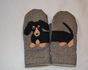 Wool mittens with felted Dachshund