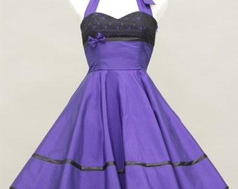 50's vintage dress full skirt purple taffeta with black lace custom made