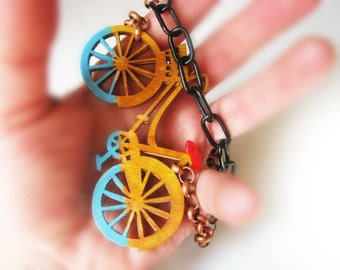 Bicycle Bike in the rain red and sky blue designer big bold chunky wooden modernist  Art Bohemian pary necklace