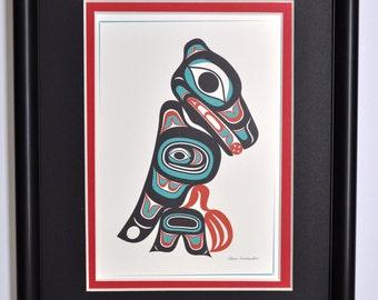 Framed 8 X 10 Art Card - Northwest Native American The Raven