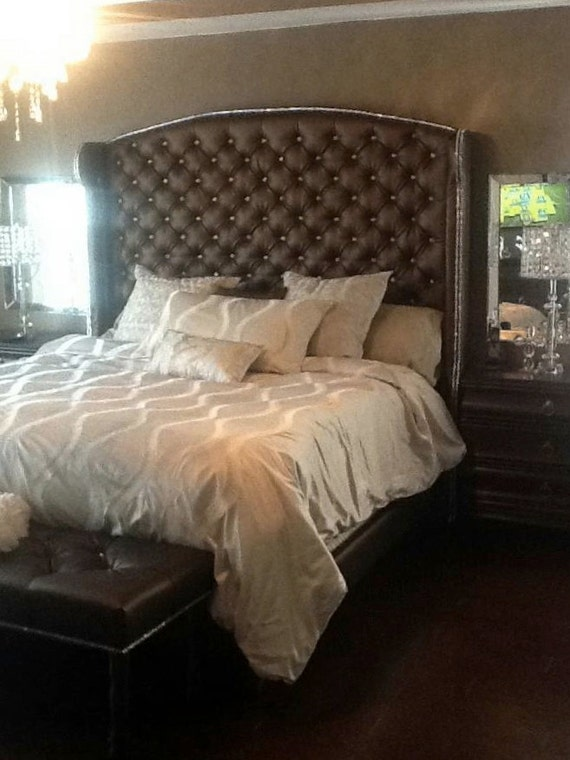 Crystal Diamond Tufted Wingback Headboard With Bed Frame And