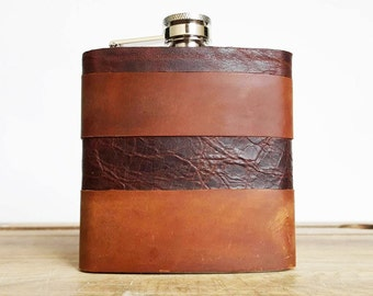 Initialled Leather Flask - Recycled Leather Strips, Hand Engraved, Best Man, cowboy leather