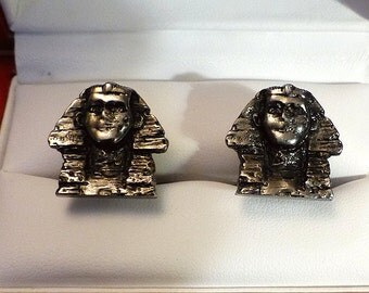 Original Vintage Sterling Silver Sphinx Cufflinks