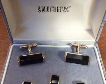 Original Vintage SWANK Goldtone and Black Cufflink and Stud Set