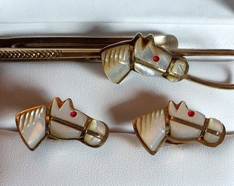 Rare Vintage Oxford Mother of Pearl Horse Cufflink Set