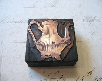 Antique Copper Letterpress Printers Wooden Block of a Decorative Victorian Teapot c1890