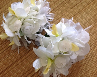Tropical Orchid Wrist Corsage for Special Events with Seashells and Diamond Trim Can be made in any color pallette