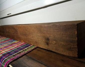 "Reclaimed Barnwood Beam Fireplace Mantle 66.25"" Long Barn Wood Beam Vintage Shelving"