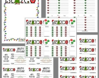 Christmas Bunco Printable Set, Bunco Christmas Cheer Scorecards & Tally Sheet, Instant Download, Editable Bunco Invites