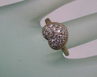Estate Vintage  10k Yellow Gold cubic Zirconia  Ring,1950's