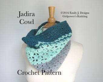 Crochet Cowl Pattern, Easy Crochet Pattern, Instant Download PDF, Neckwarmer Pattern, Tube Scarf Pattern, Worsted Yarn, Cascade 220