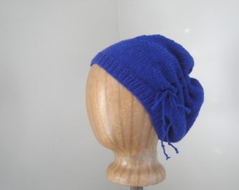 Gathered Slouch Hat, Royal Purple, Scrunch Hat, Slouchy Beanie, Drawstring Bow, Hand Knit, Soft Wool