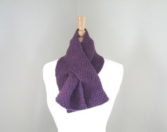 CLEARANCE Keyhole Scarf, Pull Through, Neck Warmer, Plum Purple, Hand Knit, Bow Scarf