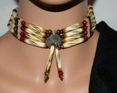 Native American Handcrafted Carved Burnt Buffalo Bone Choker with Indian Head Center