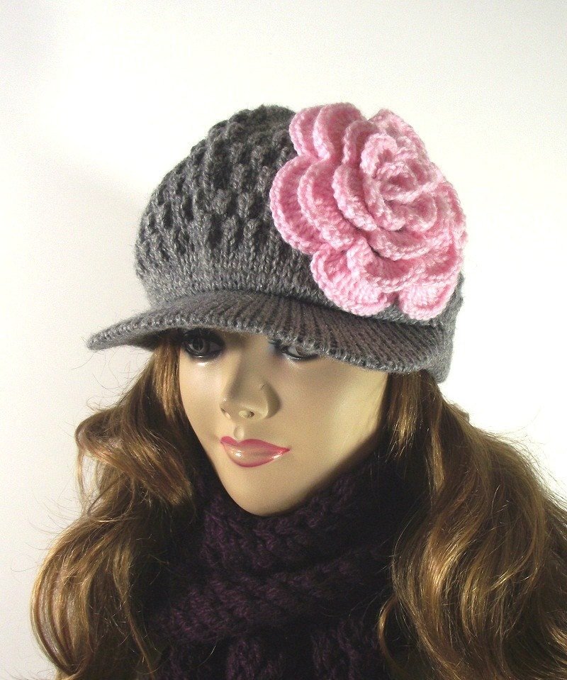KNITTING HAT PATTERN Newsboy Brim Cap Claire by LiliaCraftParty